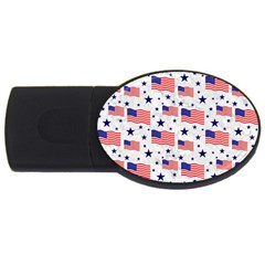 Flag Of The Usa Pattern Usb Flash Drive Oval (4 Gb) by EDDArt