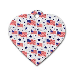 Flag Of The Usa Pattern Dog Tag Heart (one Side) by EDDArt