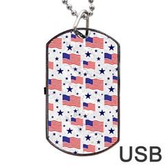 Flag Of The Usa Pattern Dog Tag Usb Flash (one Side) by EDDArt