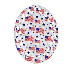 Flag Of The Usa Pattern Ornament (oval Filigree) by EDDArt