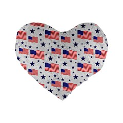 Flag Of The Usa Pattern Standard 16  Premium Heart Shape Cushions by EDDArt