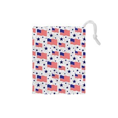 Flag Of The Usa Pattern Drawstring Pouches (small)  by EDDArt