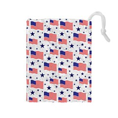 Flag Of The Usa Pattern Drawstring Pouches (large)  by EDDArt