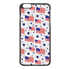 Flag Of The Usa Pattern Apple Iphone 6 Plus/6s Plus Black Enamel Case by EDDArt