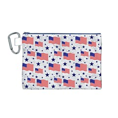 Flag Of The Usa Pattern Canvas Cosmetic Bag (m) by EDDArt