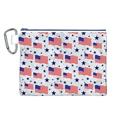 Flag Of The Usa Pattern Canvas Cosmetic Bag (l) by EDDArt