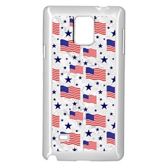 Flag Of The Usa Pattern Samsung Galaxy Note 4 Case (white) by EDDArt