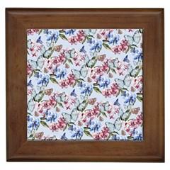 Watercolor Flowers Butterflies Pattern Blue Red Framed Tiles by EDDArt