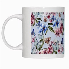 Watercolor Flowers Butterflies Pattern Blue Red White Mugs by EDDArt
