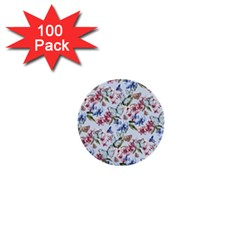 Watercolor Flowers Butterflies Pattern Blue Red 1  Mini Buttons (100 Pack)  by EDDArt