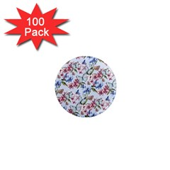 Watercolor Flowers Butterflies Pattern Blue Red 1  Mini Magnets (100 Pack)  by EDDArt