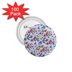 Watercolor Flowers Butterflies Pattern Blue Red 1 75  Buttons (100 Pack)  by EDDArt