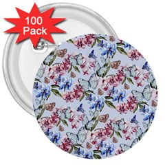 Watercolor Flowers Butterflies Pattern Blue Red 3  Buttons (100 Pack)  by EDDArt