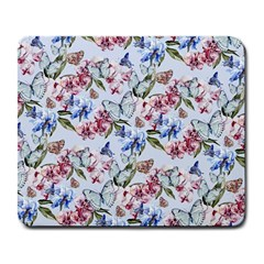 Watercolor Flowers Butterflies Pattern Blue Red Large Mousepads by EDDArt