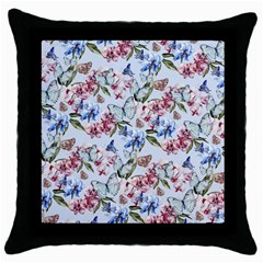 Watercolor Flowers Butterflies Pattern Blue Red Throw Pillow Case (black) by EDDArt