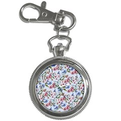 Watercolor Flowers Butterflies Pattern Blue Red Key Chain Watches by EDDArt