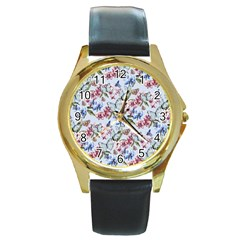 Watercolor Flowers Butterflies Pattern Blue Red Round Gold Metal Watch by EDDArt