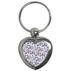 Watercolor Flowers Butterflies Pattern Blue Red Key Chains (heart)  by EDDArt