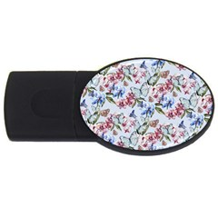 Watercolor Flowers Butterflies Pattern Blue Red Usb Flash Drive Oval (2 Gb) by EDDArt