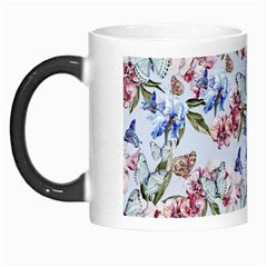 Watercolor Flowers Butterflies Pattern Blue Red Morph Mugs by EDDArt