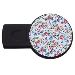 Watercolor Flowers Butterflies Pattern Blue Red Usb Flash Drive Round (4 Gb) by EDDArt