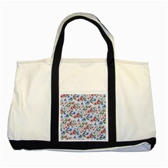 Watercolor Flowers Butterflies Pattern Blue Red Two Tone Tote Bag by EDDArt