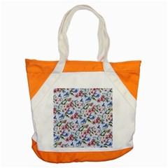 Watercolor Flowers Butterflies Pattern Blue Red Accent Tote Bag by EDDArt