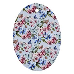 Watercolor Flowers Butterflies Pattern Blue Red Oval Ornament (two Sides) by EDDArt