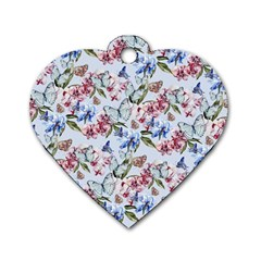 Watercolor Flowers Butterflies Pattern Blue Red Dog Tag Heart (one Side) by EDDArt