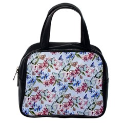 Watercolor Flowers Butterflies Pattern Blue Red Classic Handbags (one Side) by EDDArt