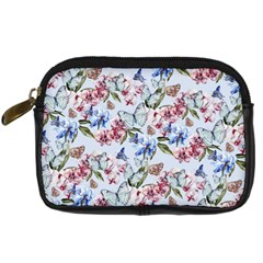 Watercolor Flowers Butterflies Pattern Blue Red Digital Camera Cases by EDDArt