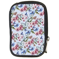 Watercolor Flowers Butterflies Pattern Blue Red Compact Camera Cases by EDDArt