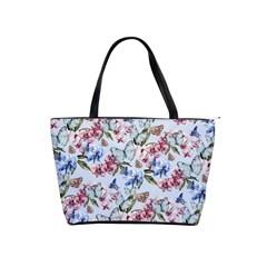 Watercolor Flowers Butterflies Pattern Blue Red Shoulder Handbags by EDDArt