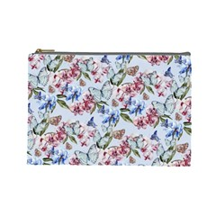Watercolor Flowers Butterflies Pattern Blue Red Cosmetic Bag (large)  by EDDArt