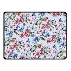 Watercolor Flowers Butterflies Pattern Blue Red Fleece Blanket (small) by EDDArt