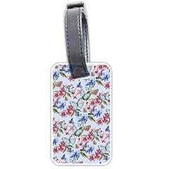 Watercolor Flowers Butterflies Pattern Blue Red Luggage Tags (two Sides) by EDDArt