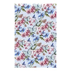 Watercolor Flowers Butterflies Pattern Blue Red Shower Curtain 48  X 72  (small)  by EDDArt