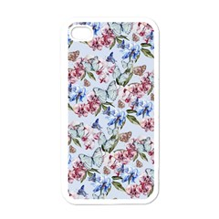 Watercolor Flowers Butterflies Pattern Blue Red Apple Iphone 4 Case (white) by EDDArt