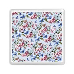 Watercolor Flowers Butterflies Pattern Blue Red Memory Card Reader (square)  by EDDArt