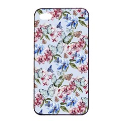 Watercolor Flowers Butterflies Pattern Blue Red Apple Iphone 4/4s Seamless Case (black) by EDDArt