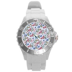 Watercolor Flowers Butterflies Pattern Blue Red Round Plastic Sport Watch (l) by EDDArt