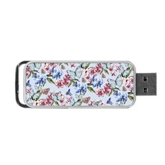 Watercolor Flowers Butterflies Pattern Blue Red Portable Usb Flash (one Side) by EDDArt
