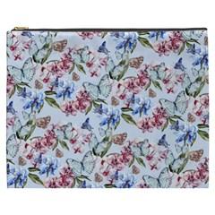 Watercolor Flowers Butterflies Pattern Blue Red Cosmetic Bag (xxxl)  by EDDArt
