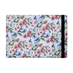 Watercolor Flowers Butterflies Pattern Blue Red Apple Ipad Mini Flip Case by EDDArt