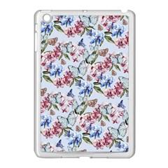 Watercolor Flowers Butterflies Pattern Blue Red Apple Ipad Mini Case (white) by EDDArt