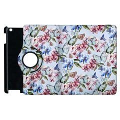 Watercolor Flowers Butterflies Pattern Blue Red Apple Ipad 3/4 Flip 360 Case by EDDArt