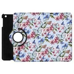 Watercolor Flowers Butterflies Pattern Blue Red Apple Ipad Mini Flip 360 Case by EDDArt