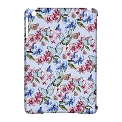 Watercolor Flowers Butterflies Pattern Blue Red Apple Ipad Mini Hardshell Case (compatible With Smart Cover) by EDDArt