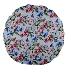 Watercolor Flowers Butterflies Pattern Blue Red Large 18  Premium Round Cushions by EDDArt