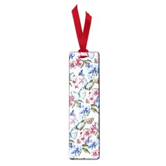 Watercolor Flowers Butterflies Pattern Blue Red Small Book Marks by EDDArt